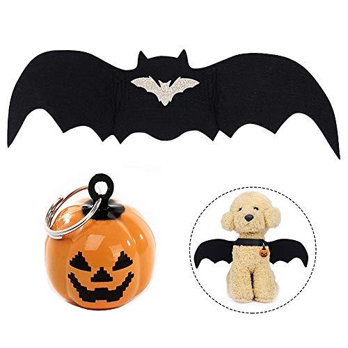 Lifreer Disfraz de Halloween para mascotas, disfraz de gato con alas de murciélago con 2 cascabeles de calabaza, cosplay para cachorro, perro, gato, disfraz de Halloween