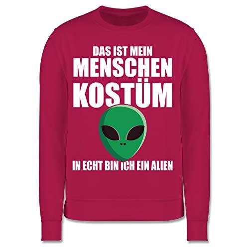 Karneval & Fasching Kinder - Das ist Mein Menschenkostüm in echt Bin ich EIN Alien - weiß - 140 (9/11 Jahre) - Fuchsia - Alien - JH030K - Kinder Pullover