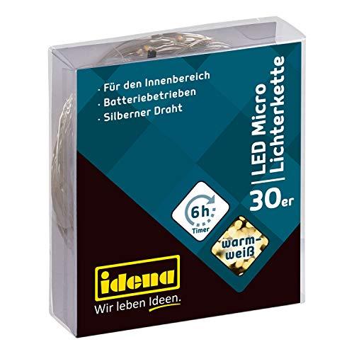 Idena 31824 - LED Micro Lichterkette mit 30 LED in warmweiß, mit 6 Stunden Timer Funktion, batteriebetrieben, ca. 3,2 m lang, für Partys, Weihnachten, Deko, Hochzeit, als Stimmungslicht