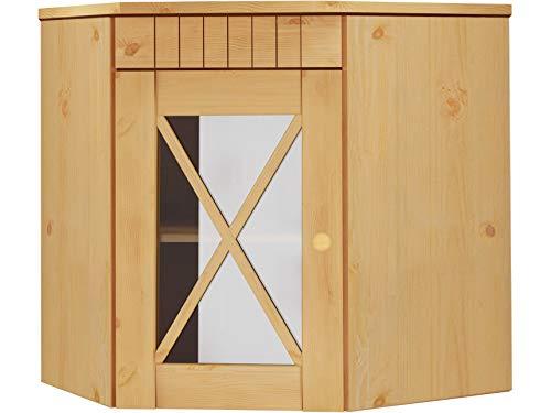 Loft24 Hängeschrank Küche Ecke Kiefer massiv Oberschrank Küchenschrank Wandschrank Landhaus gebeizt geölt Glastür 70 x 46 x 55 cm