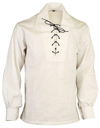Camisa Escocesa Escocesa jacobea Ghillie de Las Tierras Altas, Crema, XXL