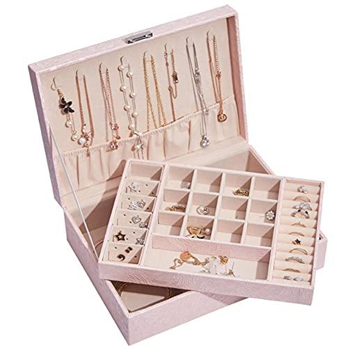 DMDMJY Caja organizadora grande de almacenamiento de joyas de 2 capas, ideal para sostenedores de collares, pendientes, anillos, vitrinas de exhibición el gran regalo para niñas y mujeres, color rosa