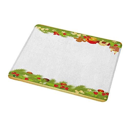 Umwelt Gummi Maus Matte Weihnachten, immergrüne Baumblätter Fichte Lebkuchen Mann Kerzen Bänder freudige Zusammensetzung, mehrfarbig für Laptops