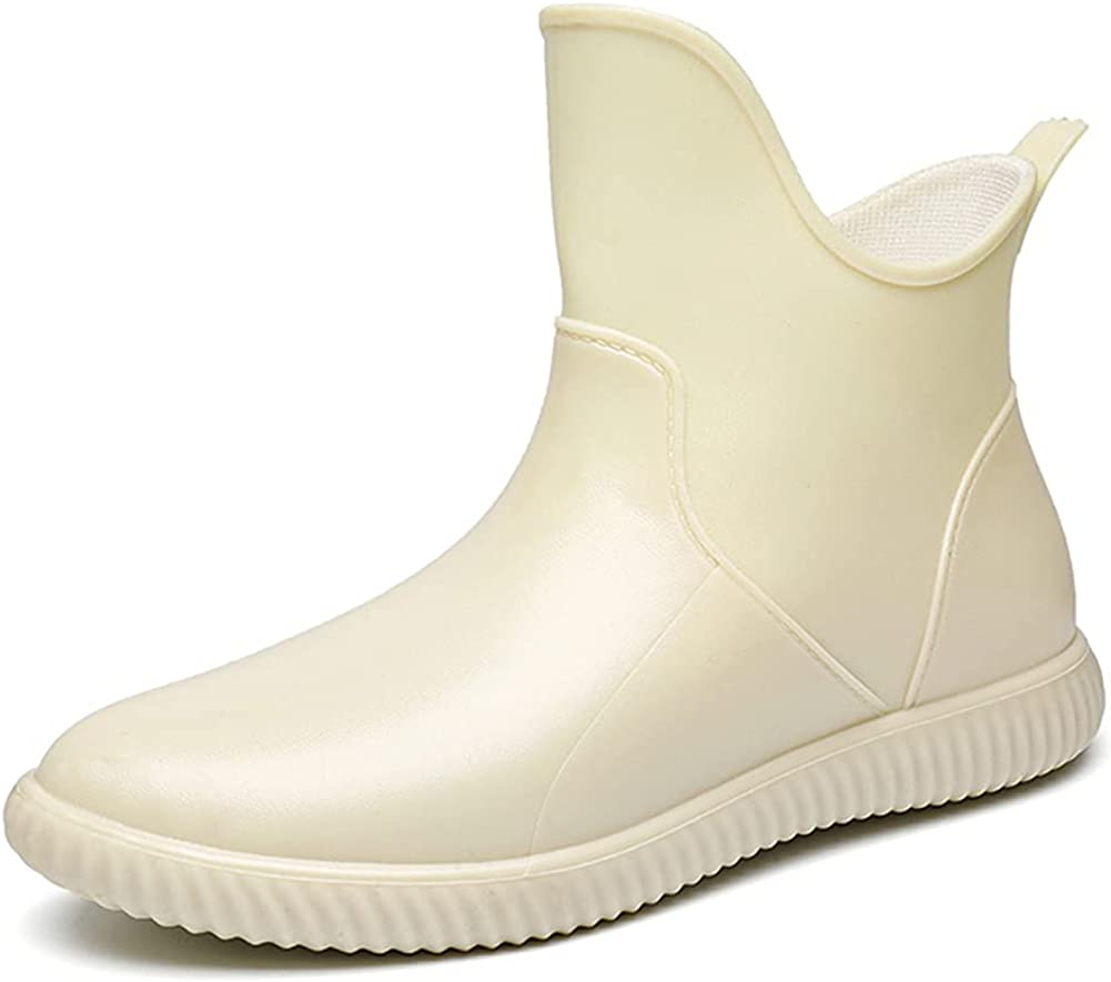 Cenim Rain Boots for Women Chelsea Short Boots Ankle Rain Shoes Rubber Garden Boots Anti-Slip Slip on Water Shoes