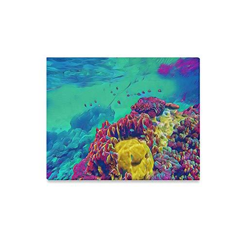 Yushg Dekorative Wandfarbe Faszinierende Korallen Unterwasser Wandmalereien für Badezimmer Kunst Wanddekoration Druck Dekor für Zuhause 20x16 Zoll