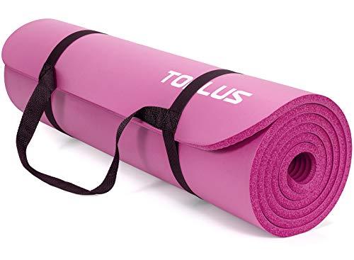 TOPLUS - Esterilla de gimnasia gruesa, sin ftalatos, antideslizante, respetuosa con las articulaciones, para yoga, pilates, deportes, con práctica correa de transporte, 183 x 61 x 1 cm, rojo rosado