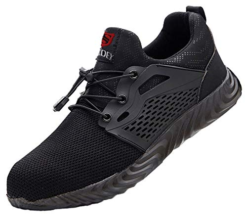 [SUADEX] 安全靴 スニーカー 作業靴 ワーキングシューズ 鋼先芯 通気性 耐油 セーフティーシューズ 耐滑 衝撃吸収 耐摩耗 メンズ レディース 830 ブラック 47