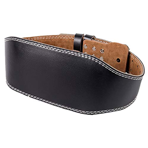 Mairhie Cinturón de cuero para levantamiento de pesas para hombres y mujeres, gimnasio, levantamiento de pesas, ejercicio lumbar, cinturón de apoyo para entrenamiento pesado (negro, M)
