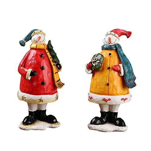 LJXLXY 2 Teile/Satz Amerikanischen Land Weihnachtsschmuck Harz Handwerk Weihnachten Schneemann Dekorative Einrichtungsgegenstände Schneemann Figur Ornament
