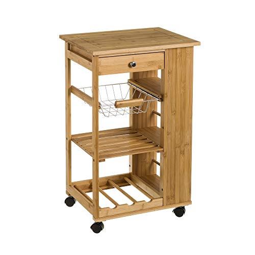 Carro de cocina con botellero de bambú marrón nórdico de 48x38x76 cm - LOLAhome