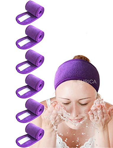 Spa Headband Hair Wrap Pack of 6 All Purple EUICAE Sweat Headband Head Wrap Hair Towel Wrap Non-slip Stretchable Washable Makeup Headband for Face Wash Facial Treatment Sport Fits