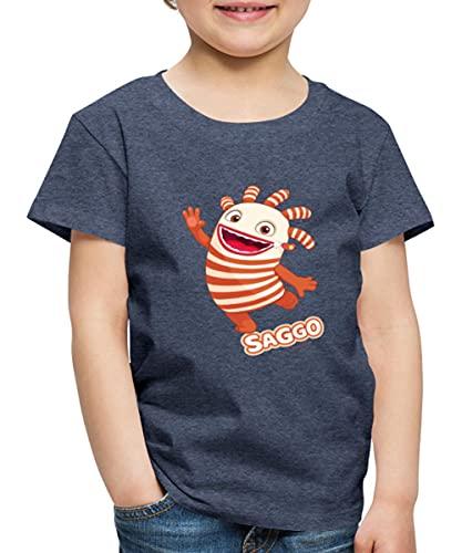 Sorgenfresser Saggo Tanzt Fröhlich Kinder Premium T-Shirt, 122-128, Blau meliert