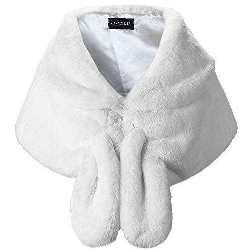 Caracilia Warm Faux Fur Wedding Shawl Wrap for Wedding Party Show Snow White S CA95