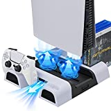 PS5 Accessories Stand with Cooling Fan and Dual Controller Charger Station for PS5 Playstation 5 Console - Suction Cooler Fan with Charging Dock Station&10 Games Storage for PS5 Controller Game System