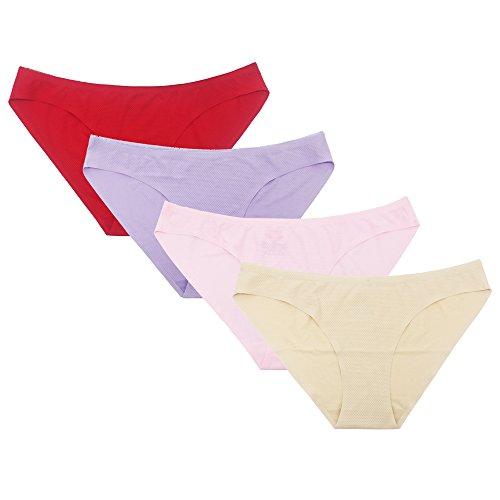 SHEKINI Damen Spitze Panties Slip Höschen Unterhose Hipster Kurze Hose Unterhöschen Soft Nahtlos 4er Paket (Medium, Farbe D)