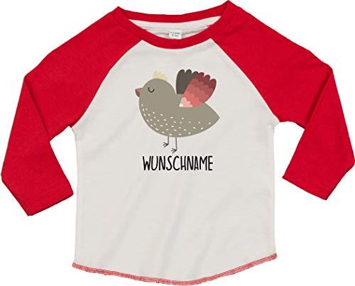 Kleckerliese T-shirt à manches longues pour enfant Motif animaux et oiseaux - Rouge - 18-24 mois