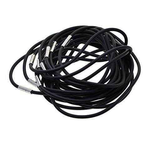 Hellery 10Pcs Open End Black Rubber Necklace Cord, Choker Findings Making Supplies - Black, 50cm