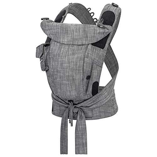 Hoppediz Bondolino Plus Babytrage ab Geburt | Bauchtrage & Rückentrage | Design Denim schwarz