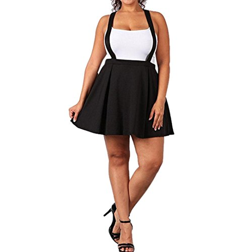 Damen Kleider, GJKK Damen Schwarz Übergröße Lose Strap Pure Farbe Short Mini Rock Minikleid Kurz Ballkleid Skaterkleid Partykleider (Schwarz, XXXXXL)