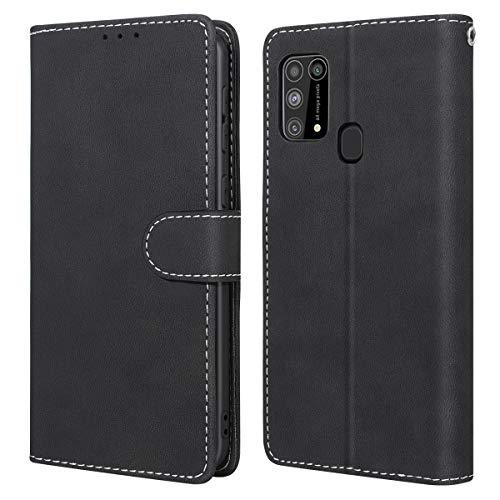 WE LOVE CASE Hülle für Samsung Galaxy M31, Schutzhülle/Klapphülle Flip Leder Hülle Abnehmbare Tasche mit Standfunktion Handyhülle mit Kartenfächer Magnetverschlüsse für Samsung M31 Schwarz