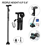 BigAlex Folding Walking Cane with LED Light,Adjustable & Portable Walking Stick, Lightweight,Collapsible with Carrying Bag for Men/WomanShort