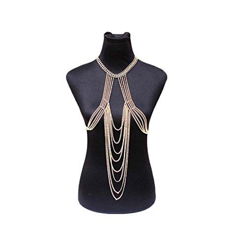 J.Memi's Legierung Cadena Pecho Joyas Cuerpo Collar Borla Ola Multicapa Simple Conciso Serie De Playa KH-2293 Para Mujeres