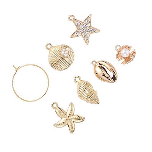 Exceart 24St DIY Earring Making Supplies Set Strass Parel Seashell Conch Star Hanger Charms DIY Craft Sieraden Maken Accessoires Voor Ketting Oorbellen Armbanden (Golden)