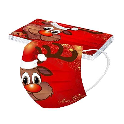 Tomatoa 10 Stück Einweg-Mundschutz, Staubschutz Atmungsaktive,Erwachsene Sommerschal,Weihnachts Camouflage Druck Bandana