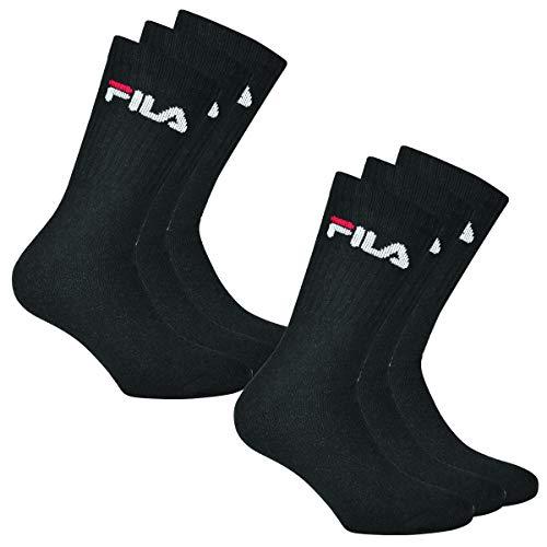 Fila 6 Paar Socken, Frottee Tennissocken mit Logobund, Unisex (2x 3er Pack) (Schwarz , 43-46 (9-11 UK))