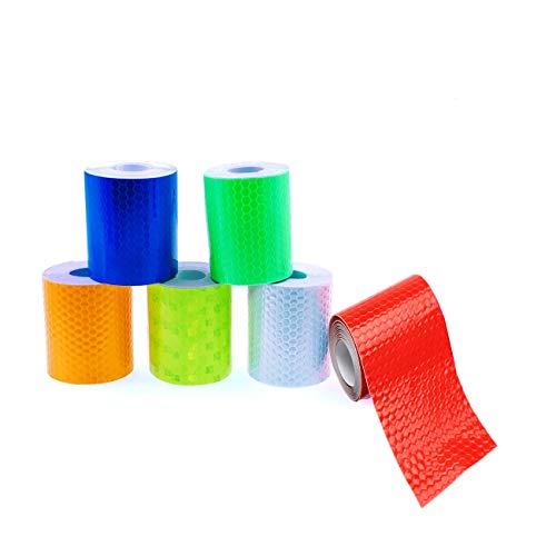 JZK 6 stuks 5cm x 3m waterdicht zelfklevende reflecterende band tape waarschuwingsplakband voor voertuigen fietskleding, wit blauw geel groen rood oranje