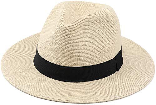 Chapéu Fedora de palha Melesh para mulheres, masculino, trança fina, aba larga, sol, praia, chapéu de panamá, Bege, Small