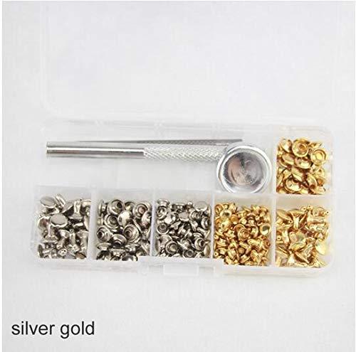 MEICHEN Metall doppelseitige DIY Handwerk Gürtel Fixing Tool Kit 120 Set Silber Bronze Nieten Nieten Rohr Leder reparieren,silvergold