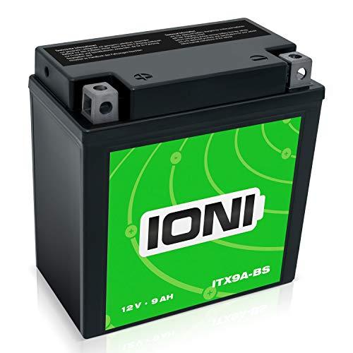 IONI ITX9A-BS / IB9-B 12V 9Ah AGM Batterie kompatibel mit YB9-B / YTX9A-BS versiegelt/wartungsfrei Motorradbatterie