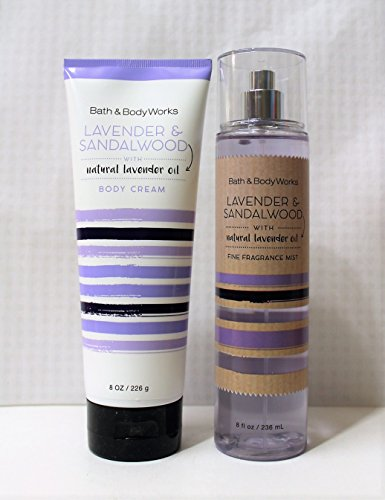 LAVENDER & SANDALWOOD Bath and Body Works Gift Set of Fine Fragrance Mist & Body Cream