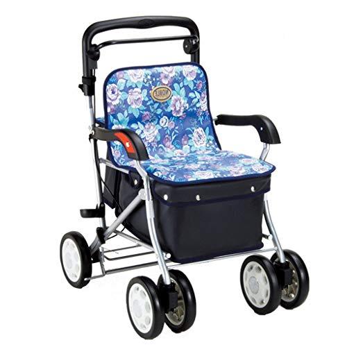 Einkaufstrolleys Walker Folding Einkaufswagen Krücken Einkaufswagen Gehendes Hilfsauto kann sitzen können tragen Gewicht 100kg Liegestuhl Senden älterer Roller Einkaufskörbe