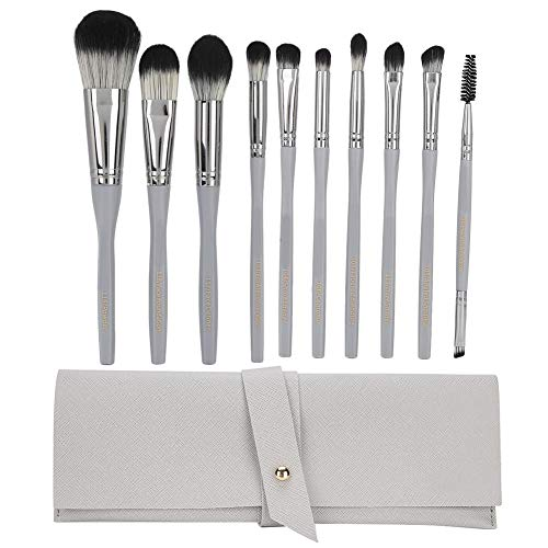 10pc Premium Cosmetic Makeup Brush Set, Make Up Brushes for Foundation, Blending Face Powder and Eye Shadows, Makeup Brush Bag Included (silver Grey)