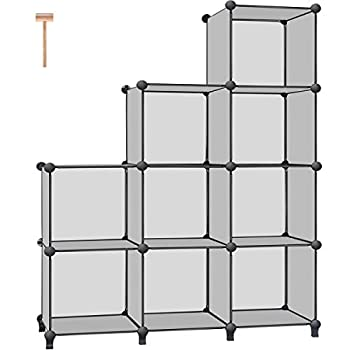 TomCare Cube Storage 9-Cube Bookshelf Storage Shelves Cube Organizer Closet Organizer Shelving Plastic Book Shelf Bookcase DIY Closet Cabinet Organizers Shelves for Bedroom Office Living Room Grey