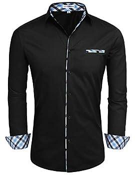 Hotouch Men Fashion Korean Button Down Shirts Long Sleeve Casual Button Up Dress Shirt  Black XXL