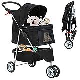 Best 3 Wheels Pet Stroller for Dog Stroller Cat Stroller, Lightweight and Foldable Pet Jogger Stroller, Carrier Strolling Cart W/Cup Holders Removable Liner for Small and Medium Dog Cat or Pet - Black