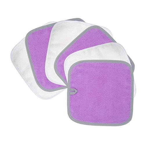 Polyte - panno premium per rimuovere il trucco/pulizia viso - privo di agenti chimici ed ipoallergenico - viola/bianco - 20 x 20 cm - 6 pezzi