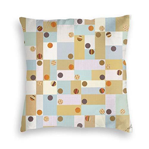 Parches con botones cubiertos de tela decorativos, funda de almohada cuadrada de terciopelo para sofá, cama, dormitorio, sofá, 45,7 x 45,7 cm