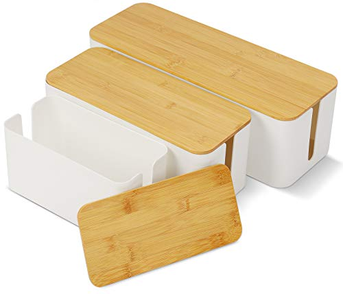 Kabel-Organizer Box Kabelmanagement-Box Kabel Aufbewahrungsbox zum Kabel Verstecken bei Kabelsalat 3 Größen Kabelbox ABS-Kunststoff