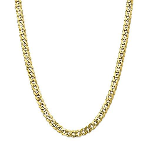 Diamond2deal 10K giallo oro 7.75mm piatto smussato Cordolo catena collana moschettone 55,9cm