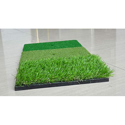 LYWBLACK Golfmatte 3 Gräser mit Gummi T-förmigem Queue-Ständer Golf-Trainingshilfen Indoor- und Outdoor-Golf-Schlaggras