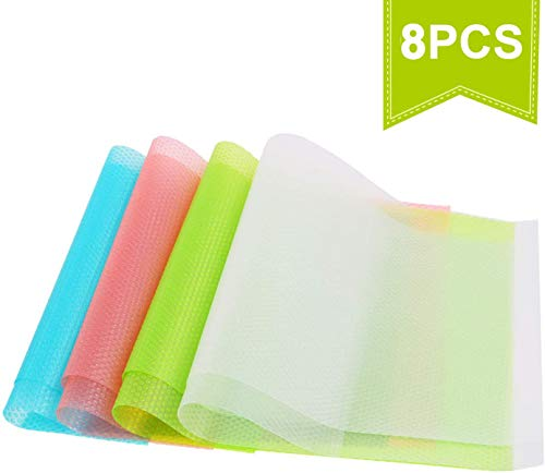 HAUSPROFI 8er Antibakterielle Kühlschrankmatten Matten entziehen Feuchtigkeit und Gerüch rutschfest,abwaschbar und DIY zuschneidbar Kühlschrank Matten [29cm x 45cm]