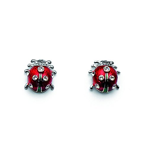 Oliver Weber Collection Ladybug – rhodinierte Ohrringe - Premium Schmuck Kollektion, Ohrstecker mit Swarovski Kristall - Ideale Geschenkidee für Damen