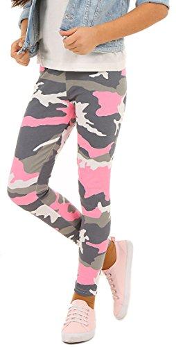 ModaFresca Baumwolle Leggings für Mädchen Frühling Smmer Lange Leggings Baby Fitness Hose Kinder Sport Girl Power (Camouflage Rosa, 158)