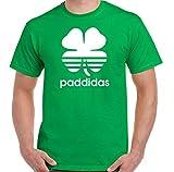St. Patrick's Day T-Shirt Mens Funny Tee Top Paddy's Irish Ireland Beer Rugby,Paddidas White Print,M