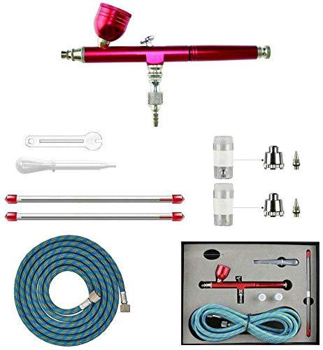 Abest Nouveau Professional 0,2mm 0.3mm 0.5mm double action aérographe Pistolet à peinture kit Ensemble complet avec tuyau, Buse, aiguille pour modèle, Hobby