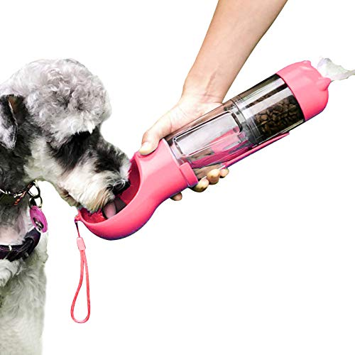 4-In-1 Portable Pet Water Bottle & Food Container for Walking, Dog Travel 300ML Water Dispenser and Food Feeder with Shovel/Waste Bags